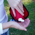 Dog bag pocket carries hand sanitizer